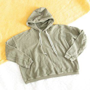 aerie Green Ribbed Soft Cropped Hoodie Sweatshirt